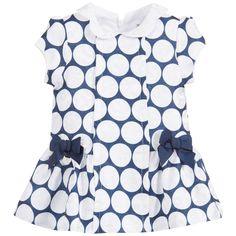 Mayoral Baby Girls Navy Blue & White Polka Dot Dress at Childrensalon.com