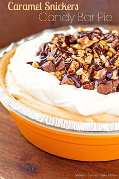 Caramel Snickers Candy Bar Pie - This no bake pie is for those moments you need a sweet fix with little fuss. I purposely kept the no bake filling simple and the candy bar topping adds just the right mount of texture.