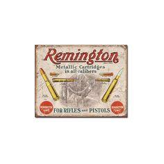 Remington For Rifles /& Pistols Ammo Distressed Retro Vintage Ad Metal Tin Sign