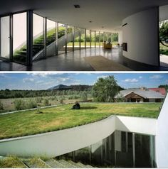 This earthen home designed by KWK Promes has a grass roof that absorbs water and helps to regulate temperature inside the home.