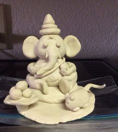 An eco-friendly idol of Ganesha made using air dry clay.