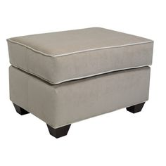 EdgecombeFurniture Avery Ottoman Finish: Empire Mahogany, Upholstery: Deacon Williamsburg
