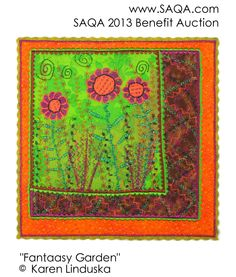 Art quilt by Karen Linduska Thread Painting, Mug Rugs, Mini Quilts, Bohemian Rug, Benefit, Projects To Try, Arts And Crafts, Auction, Pillows