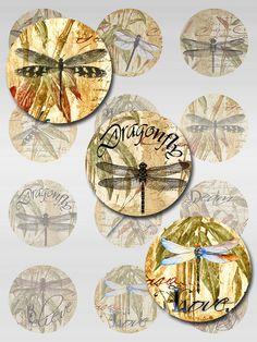 Dragonflies Ephemera Bamboo Words Round Circle by pixeltwister