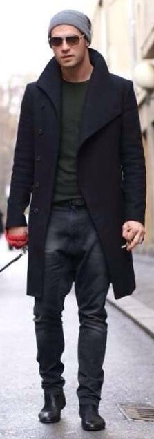 Black Wool Overcoat, Broken-in Jeans, and Beanie. Street Style, Men's Fall Winter Fashion.