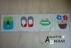Striscia didattica per insegnare ai bambini ad allacciare lo zainetto, le scarpe, le zip e i bottoni. Creato in riferimento al metodo di Maria Montessori