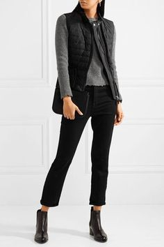 MONCLER stylish Valensole broderie anglaise-trimmed quilted cotton down  gilet Valensole, Moncler, Black cb491e8693d
