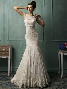 Buy Bateau Neckline V-back Lace Wedding Dress Online Dress Store At LuckyGown.com