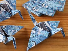Origami Cranes, custom-created from blue-and-white Chocolate wrappers.