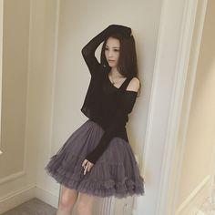 Sweet knit vest skirt two-piece dress tutu