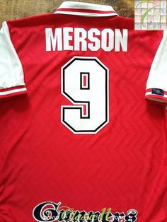 564eed1b6 1996 97 Arsenal Home Football Shirt Merson  9 (L). Arsenal PlayersArsenal  FcArsenal JerseyVintage ...