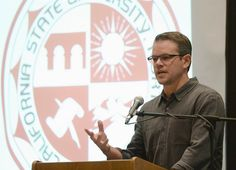 Actor Matt Damon introduces former U.S. Assistant Secretary of Education Diane Ravitch as part of the Education on the Edge lecture series a...