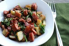 smoked sausage, potato & spinach skillet by Elly Says Opa, via Flickr