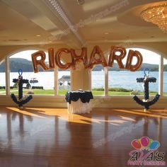 Name arch with Nautical Balloon Anchor Sculptures