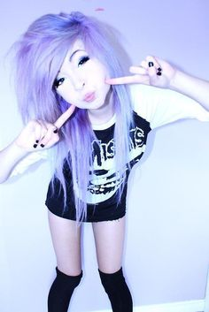 pastel goth, gothic, grunge, i always follow back. Misfits. Black nail polish. Purple hair. Blue hair. Hairstyles.