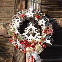 Hydrangea / Vianočný veniec na dvere so stromčekom 4th Of July Wreath, Christmas Wreaths, Holiday Decor