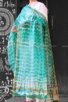 Fine Kota Silk Dupatta with Shibori art | India1001.com