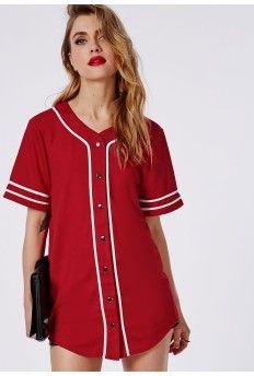 88959b9c313 Bad Gal Button Through Boyfriend Baseball Jersey Tee Red fun for a night  out Baseball Jersey