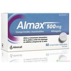 -Nom: almax -Principis actius: almagat.  -Indicacions: alleujament i tractament simptomàtic de l'acidesa i ardor de l'estómac en adults i majors de 12 anys.
