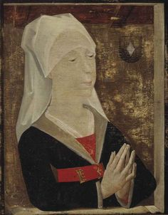 Flemish School, Century Portrait of a lady, half-length, in a black robe with a red belt and white headdress oil and tempera on panel 23 x 18 cm. inscribed with the coat-of-arms of a convent (upper right) 15th Century Fashion, 15th Century Clothing, 16th Century, Medieval Belt, Medieval Costume, Medieval Fashion, Medieval Clothing, European Costumes, Late Middle Ages