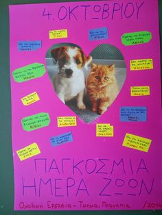 Areti's Place: ΠΑΓΚΟΣΜΙΑ ΗΜΕΡΑ ΤΩΝ ΖΩΩΝ : Δραστηριότητες με τους φίλους μας, τα ζώα! Animal Crafts, Preschool, Education, Blog, Animals, September, Shots, Greek, Studying