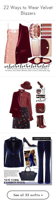 """22 Ways to Wear Velvet Blazers"" by polyvore-editorial ❤ liked on Polyvore featuring velvetblazers, Bobbi Brown Cosmetics, Kate Spade, Miu Miu, MANGO, Tory Burch, Diane Von Furstenberg, velvet, Saloni and White Stuff"