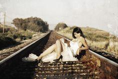 orange county wedding photography bride on train tracks sexy trash the dress