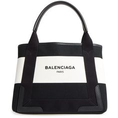 Women's Balenciaga Small Cabas Canvas Tote (€970) ❤ liked on Polyvore featuring bags, handbags, tote bags, canvas totes, white tote bag, white purse, white tote and canvas purse
