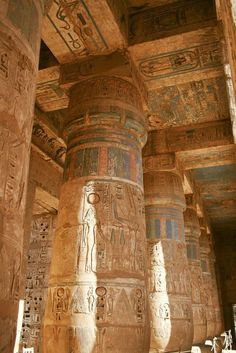 Mortuary Temple of Ramesses III - Columns in Second Court