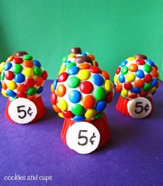 """""""Gumball"""" Cupcakes - use 2 cupcakes, turn one upside down and the other on it's side, decorate with M's, a Whopper and White Chocolate Wafer. CUTE!"""