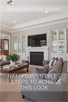 At home on the East Coast of America, Hamptons Style has swept the globe. With its gorgeous palette of soft whites, greys and blues, this is a style that adapts well to both coastal and country style homes. I have seven steps to achieve this look here. Hamptons Living Room, Coastal Living Rooms, Interior Design Advice, Room Interior Design, Hamptons Style Decor, The Hamptons, Living Room Color Schemes, Country Style Homes, Decoration