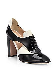 Valentino - Bicolor Patent Leather Lace-Up Ankle Boots