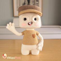 Posable art doll Creature Marshmallow Amigurumi doll OOAK art