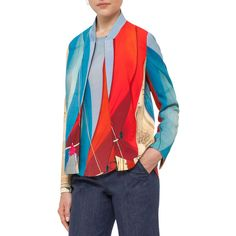 Akris Punto Sail-Print Bomber Jacket ($1,390) ❤ liked on Polyvore featuring outerwear, jackets, mainsail print, women's apparel jackets, bomber style jacket, pattern jacket, red bomber jacket, patterned bomber jacket and fleece-lined jackets