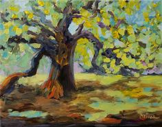 Mona Vivar Charleston Angel Oak Tree Landscape Impasto Acrylic Impressionist Art #Impressionism
