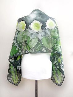 Fern scarf, dark green silk scarves hand painted with Solomon seal, St Patrick gift Silk Scarves, Green Scarves, Solomons Seal, Green Wrap, Silk Art, Painted Silk, Hand Painted, Green Silk, Fabric Painting