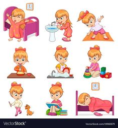 Little girl brushes teeth, exercises in morning, eats porridge, washes dishes, plays with toys and d Kids Routine Chart, Daily Routine Activities, Preschool Activities, Daily Routine Kids, Kinder Routine-chart, Sequencing Pictures, Charts For Kids, Washing Dishes, Kids Education
