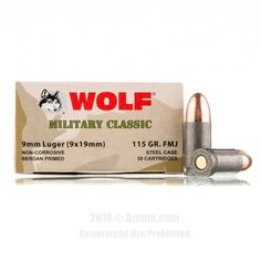 Wolf WPA Mil Classic 9mm Ammo - 500 Rounds of 115 Grain FMJ Ammunition #9mm #9mmAmmo #Wolf #WolfAmmo #Wolf9mm #FMJ #WolfWPAMilClassic #MilitaryClassic