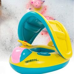 Baby Funny Swimming Float BoatPool Floats with Sunshade Canopy for KidsInflatable Pool Seat with Horn -- Read more reviews of the product by visiting the link on the image.Note:It is affiliate link to Amazon. #style
