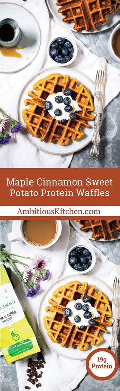 Healthy Recipes : Illustration Description Sweet potato protein waffles made with cottage cheese, oats, roasted sweet potato, a touch of maple syrup and cinnamon! Clean Eating Breakfast, Breakfast Bars, Sweet Breakfast, Healthy Breakfast Recipes, Brunch Recipes, Healthy Breakfasts, Breakfast Ideas, Pancake Breakfast, Pancake Recipes