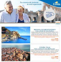 Oferta de Costa Cruceros para mayores de 55 años, 10% de descuento en estas salidas. Llámanos, visítanos o navega por nuestra web para conocer todos los detalles.