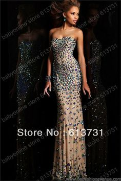 Wholesale - 2013 New Strapless Nude Long Prom Dresses with Crystals Stones Beaded  Floor Length 21079 $146,25