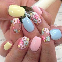 Flower Nail Art, Floral Nail Art, Pastel Nails, Pastel Nail Art