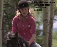 04 x 01 Amy approaching a jump over a log in prectice cross country race Heartland Season 4, Heartland Cast, Heartland Ranch, Ty And Amy, Amber Marshall, Cross Country, Riding Helmets, Racing, Seasons