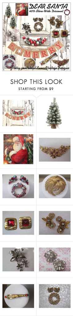 """DEAR SANTA"" by lunasvintagedesigns ❤ liked on Polyvore featuring WALL, Avon, Trifari and vintage"