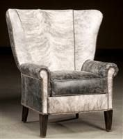High back accent chair. Hair hide and distressed leather.