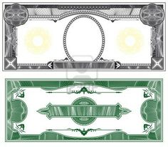 Blank Banknote Layout With Obverse And Reverse Based On Dollar