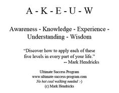 "A - K - E - U - W    Awareness - Knowledge - Experience - Understanding - Wisdom    ""Discover how to apply each of these  five levels in every part of your life."" -- Mark Hendricks"