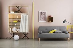 color combo: mustard yellow + blush pink, touches of gray | LOVE this, bathroom color pallet for sure