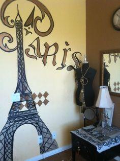 Did an Eiffel Tower Mural in our Paris Room